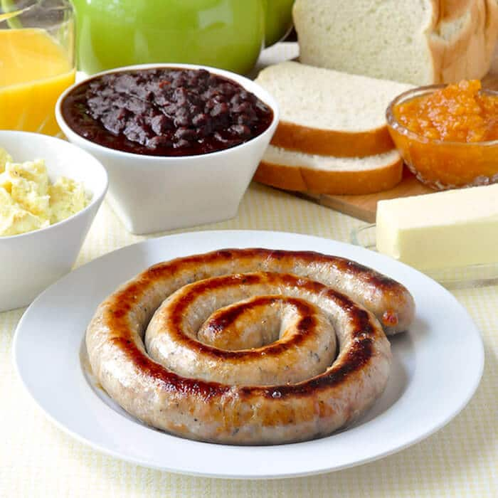 Cumberland Sausage in a traditional coil.