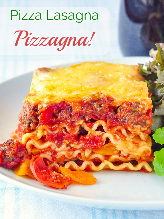 Pizza Lasagna photo with title text for Pinterest