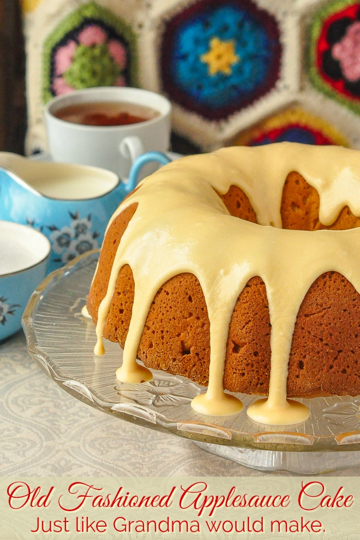 Old Fashioned Applesauce Cake photo of uncut cake with title text added for Pinterest