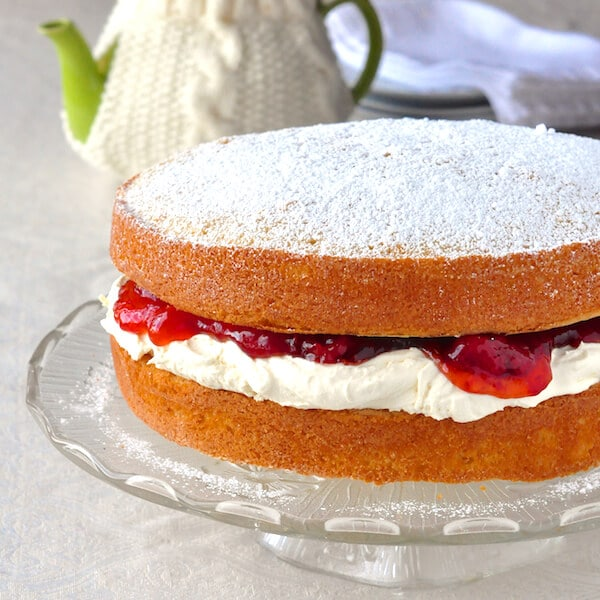 Victoria Sandwich Cake with Jam and Homemade Clotted Cream