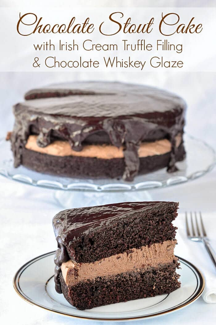 Chocolate Stout Cake with Irish Cream Truffle Filling & Chocolate Whisky Glaze