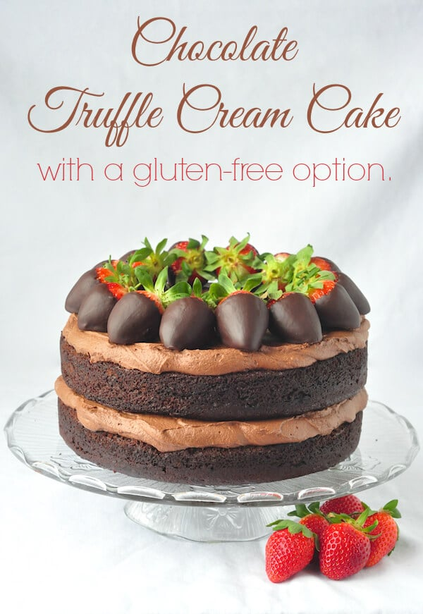 Chocolate Truffle Cream Cake with a gluten free option
