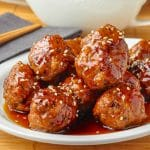 Honey Garlic Meatballs close up featured image