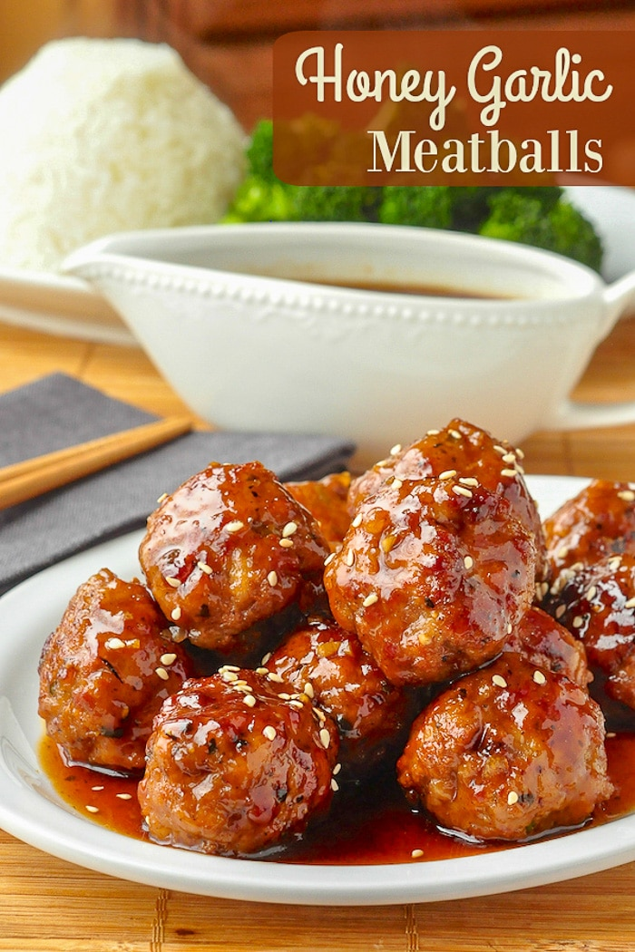 Honey Garlic Meatballs photo with title text for Pinterest