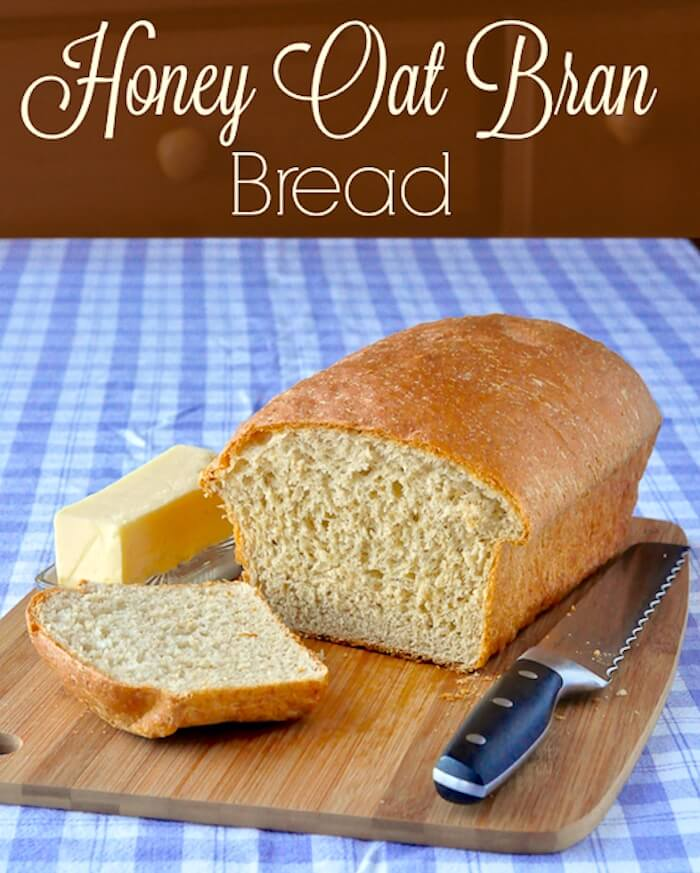 Honey Oat Bran Bread image with title text