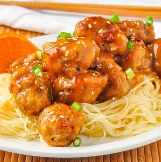 Orange Chicken on Chinese noodles