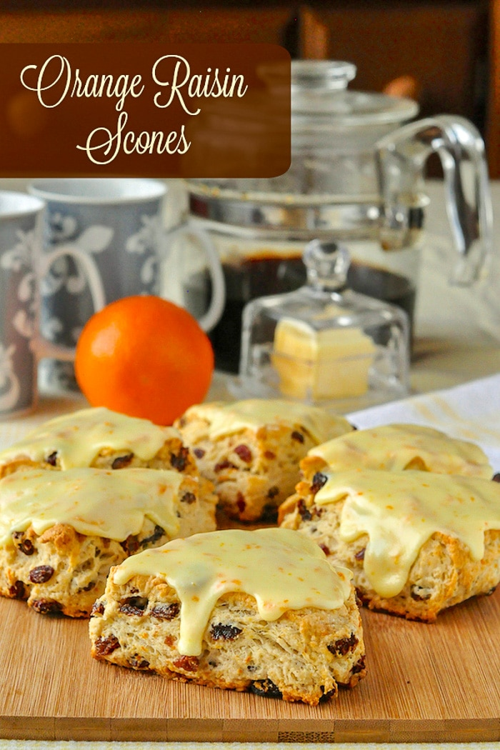 Orange Raisin Scones image with title text for Pinterest.