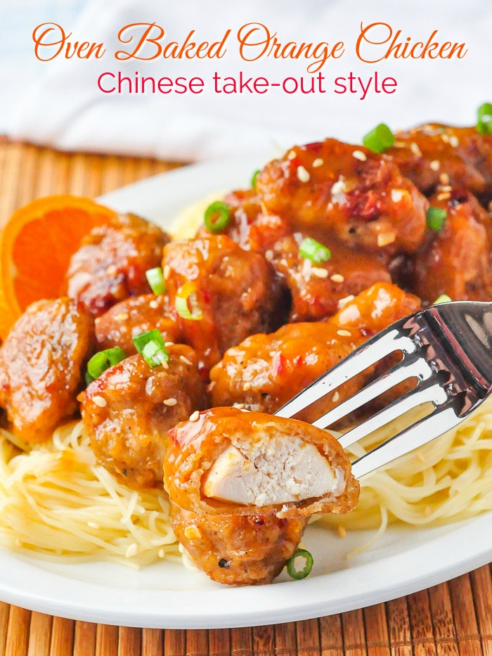 Oven Baked Orange Chicken photo with title text for Pinterest