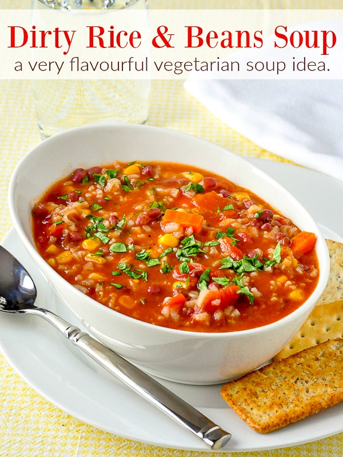 Dirty Rice and Beans Soup photo with title text for Pinterest