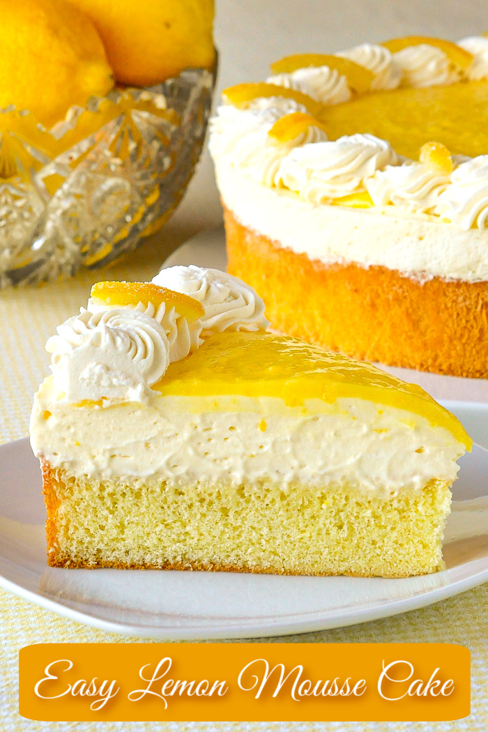 Lemon Mousse Cake photo of a single slice with title text added for Pinterest