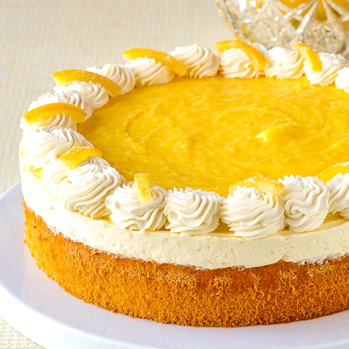 Lemon Mousse Cake photo of finished uncut cake