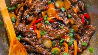 Mongolian Beef close up