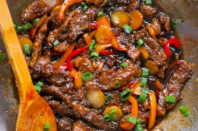 Mongolian Beef close up
