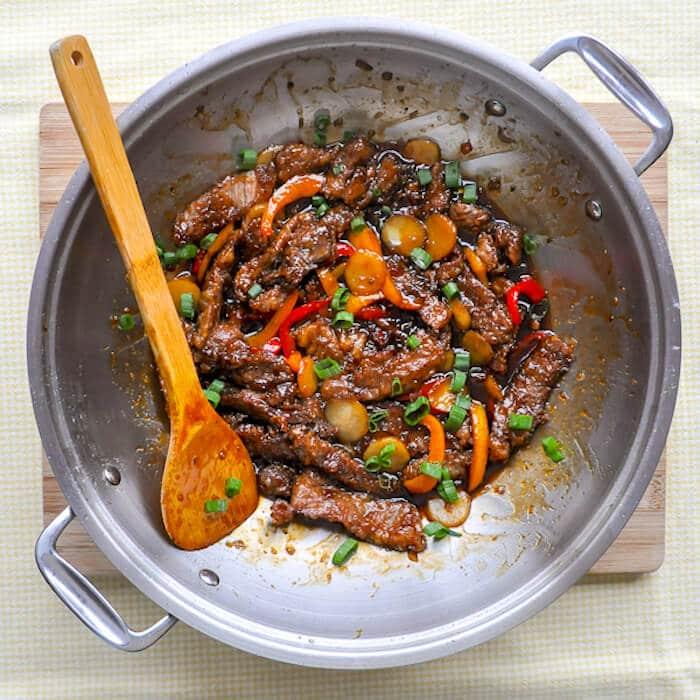 Mongolian Beef in wok
