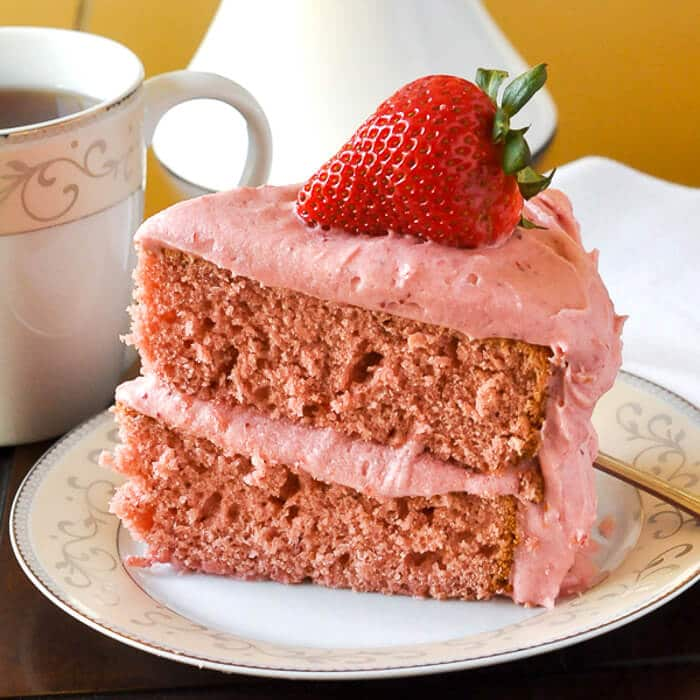 Strawberry Cake no artificial colour or flavour, photo of cut slice.