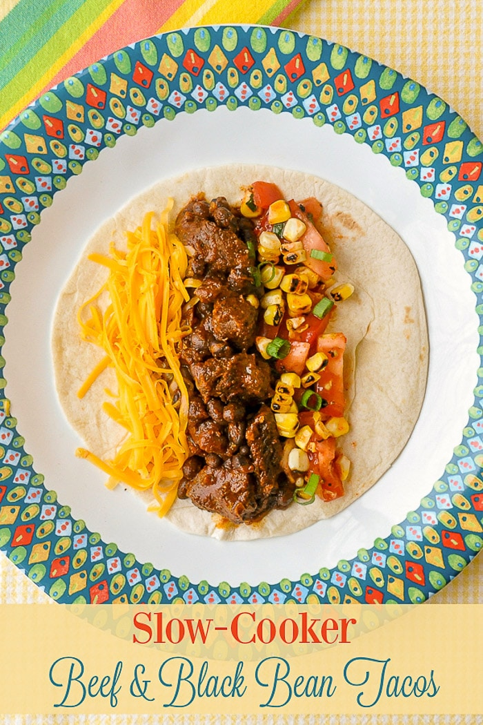 Beef Tacos From the Slow Cooker photo with title text for Pinterest