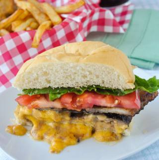 Juicy Lucy Burger with Maple Bacon