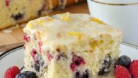 Lemon Drizzle Cake with Blueberries and Raspberries