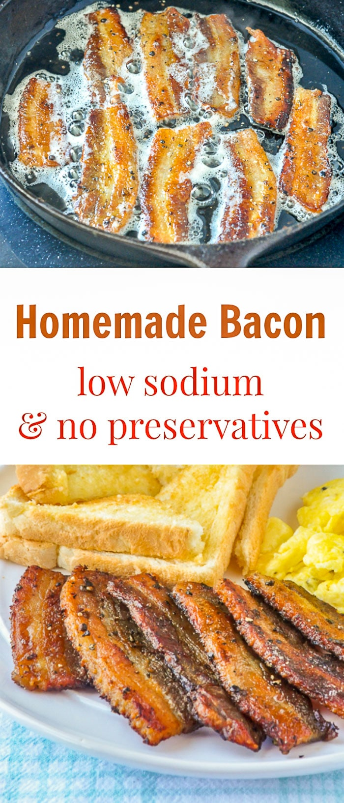 Homemade Bacon image with title text for Pinterest