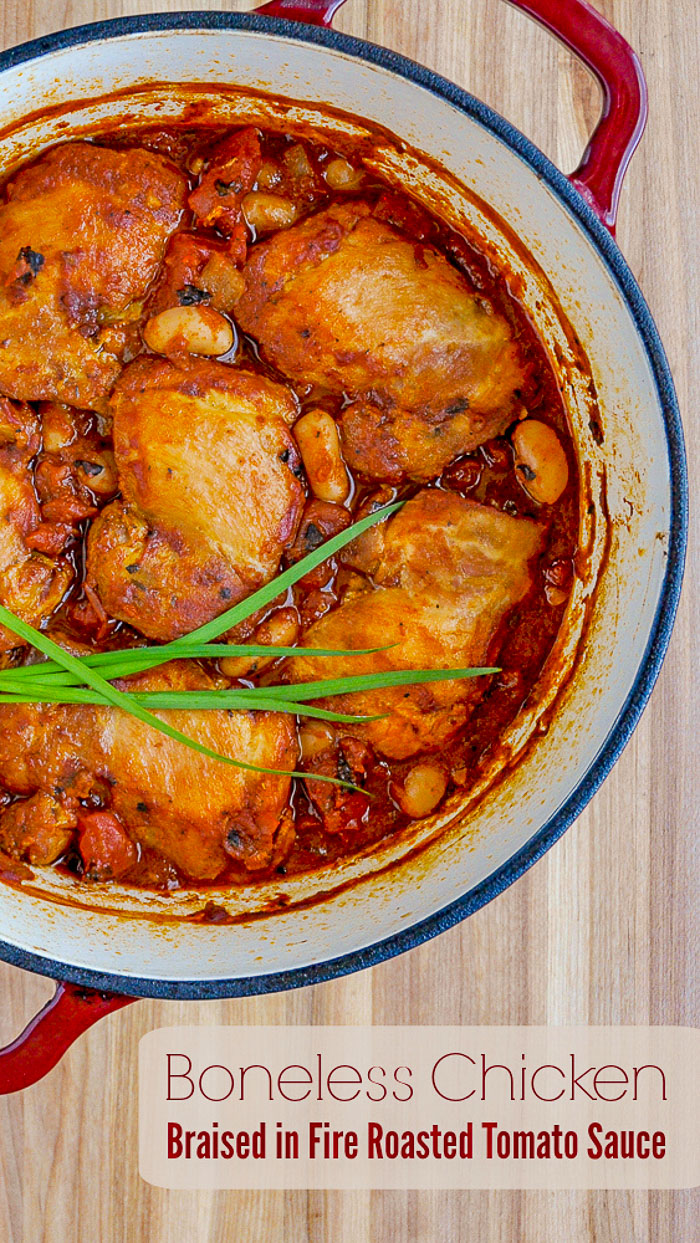 Chicken Braised in Fire Roasted Tomato Sauce photo with title text for Pinterest