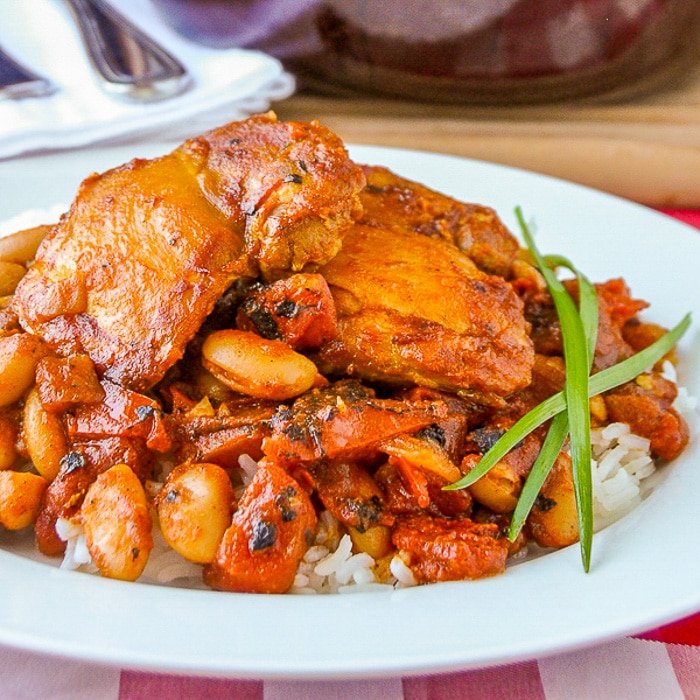 Chicken Braised in Fire Roasted Tomato Sauce photo of single serving on a white plate
