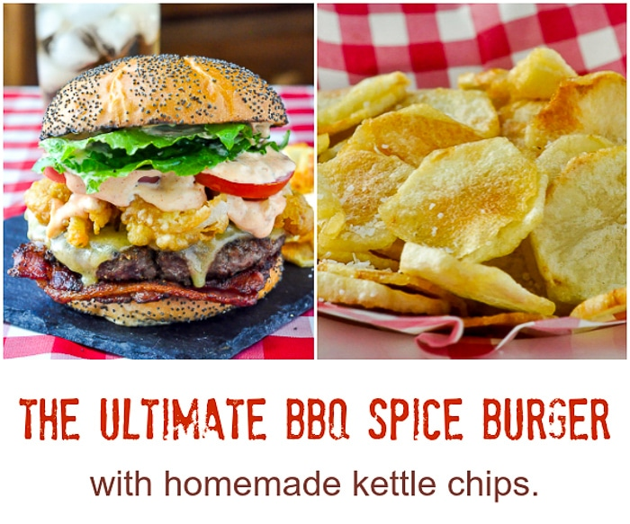 Barbecue Spice Burgers and potato chips collage with title text added