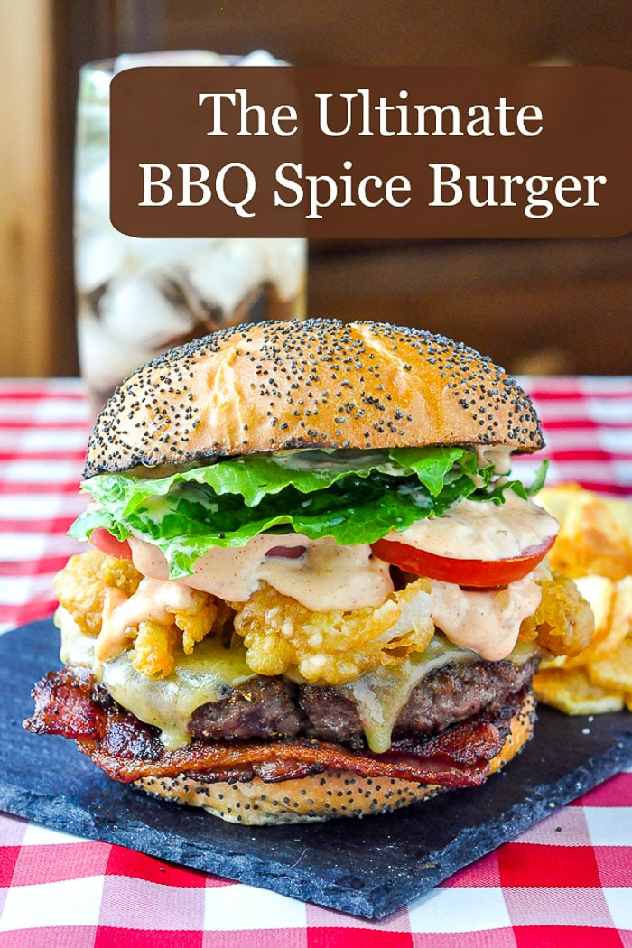 Barbecue Spice Burgers photo with title text for Pinterest