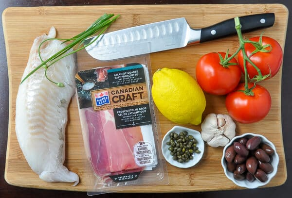 Prosciutto Wrapped Cod with Mediterranean Salsa