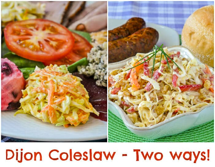 Dijon Cole Slaw image collage showing both ways to serve this recipe.