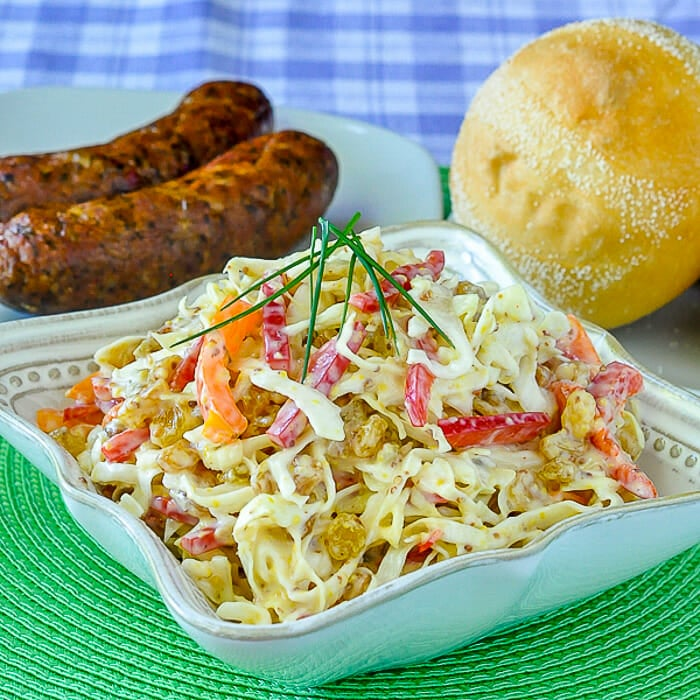 Dijon Coleslaw in serving bowl