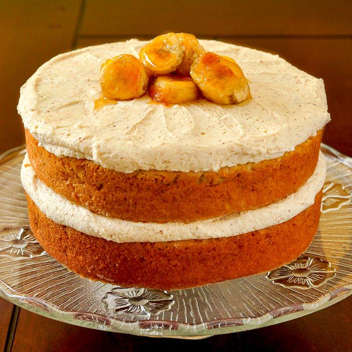 Photo of finished uncut banana cake