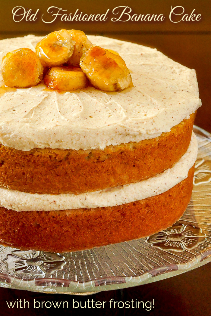 Photo of uncut banana cake with title text added for Pinterest