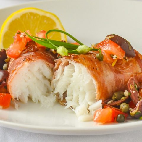 Prosciutto wrapped cod close up photo for featured image
