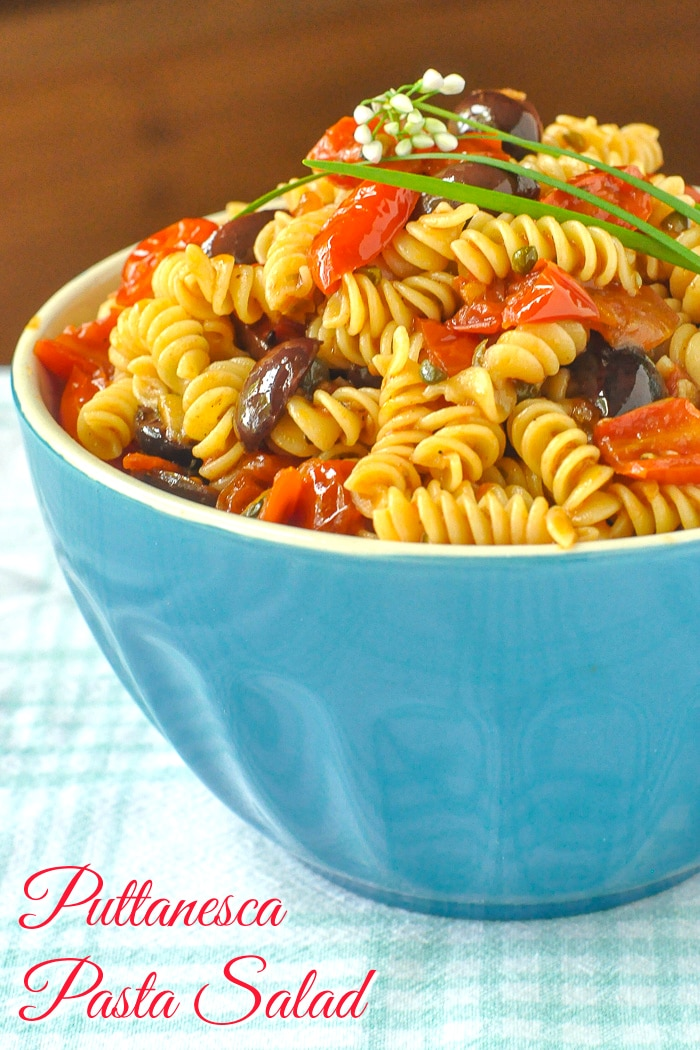 Puttanesca Pasta Salad photo with title text added for Pinterest