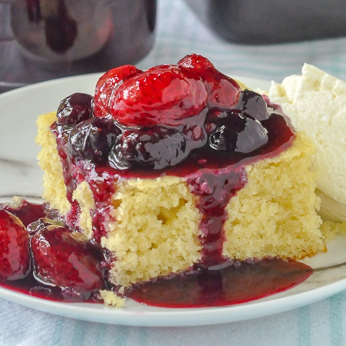 One Bowl Vanilla Cake with Bumbleberry Sauce