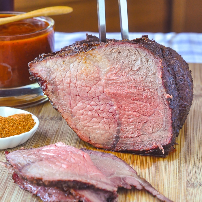 Smoky Spice Honey Barbecue Sauce on dry rubbed barbecue beef