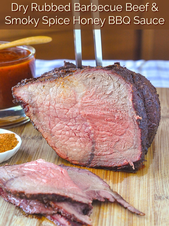 Smoky Spice Honey Barbecue Sauce pictured with rare beef roast with title text added for Pinterest