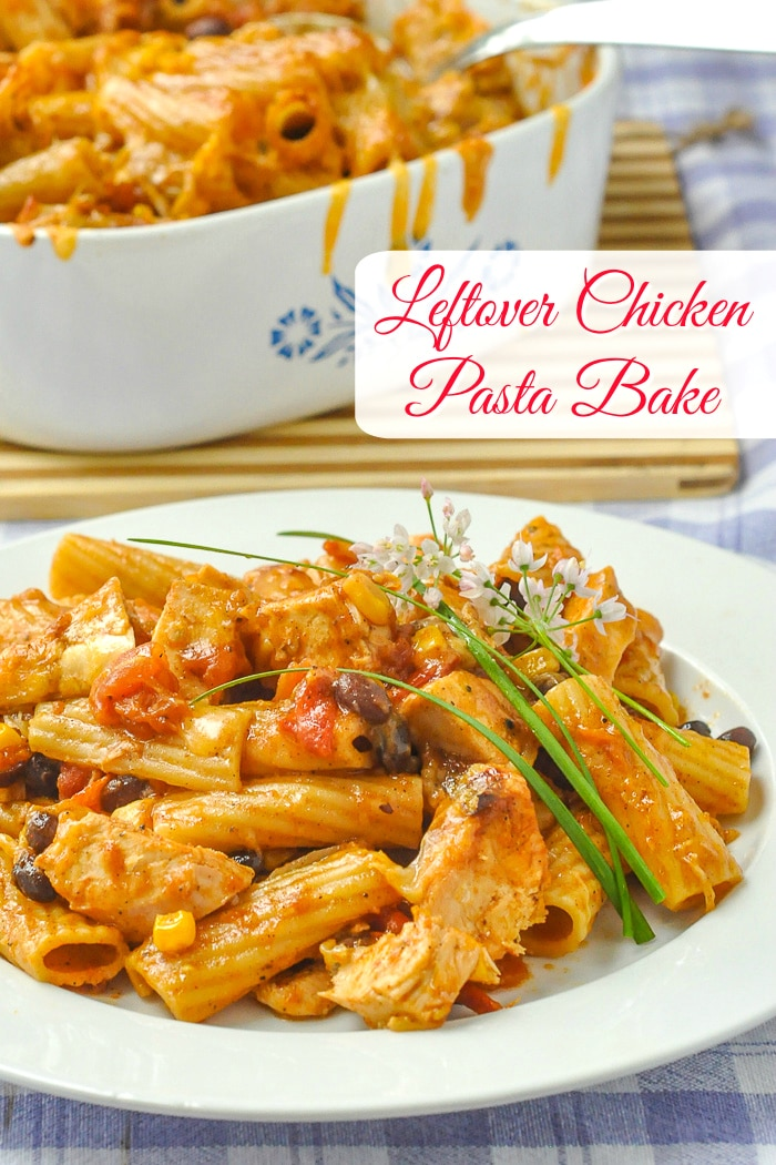 BBQ Chicken Pasta Bake photo of one serving with title text added for Pinterest