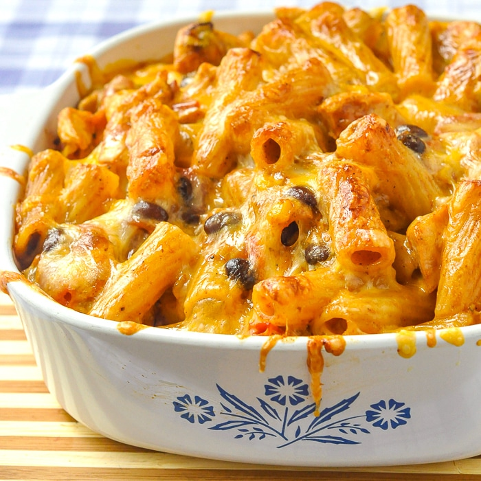 BBQ Chicken Pasta Bake photo of the finished pasta bake in a Corningware casserole dish