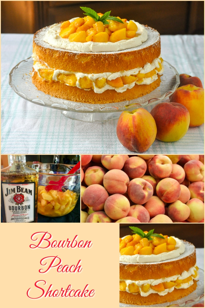 Bourbon Peach Shortcake photo collage with title text added for Pinterest