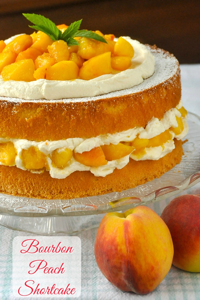 Bourbon Peach Shortcake photo of uncut cake with title text added for Pinterest