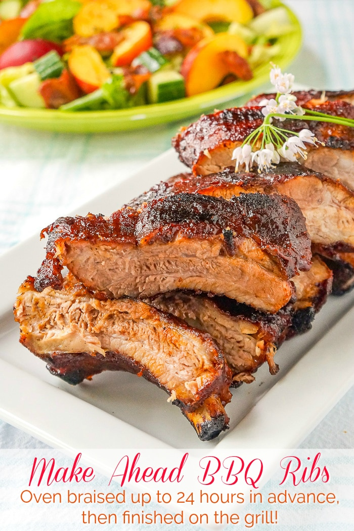 Make Ahead Ribs photo with title text for Pinterest