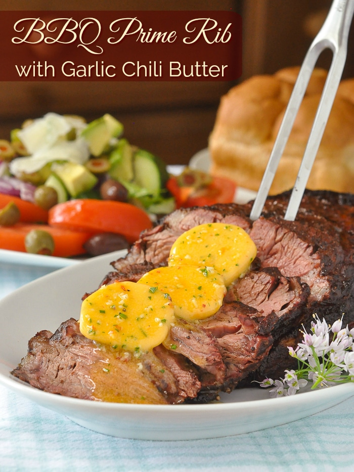 BBQ Prime Rib with Garlic Chili Butter photpo with title text for Pinterest