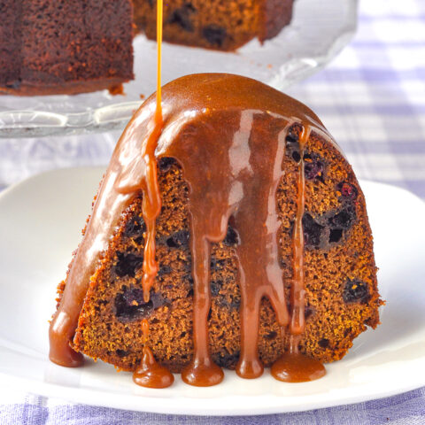 Blueberry Gingerbread Cake with Toffee Sauce close up photo of single slice
