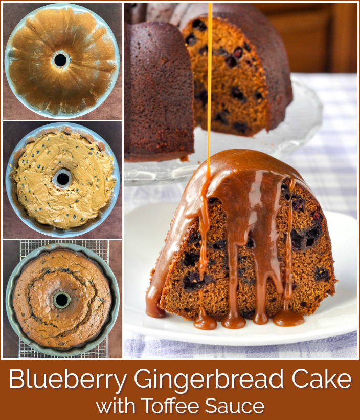 Blueberry Gingerbread Cake with Toffee Sauce photo collage with title text added for Pinterest