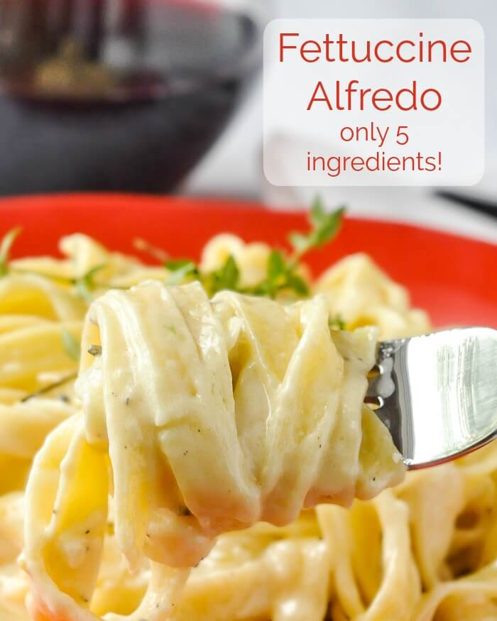 Fettuccine Alfredo image with title text