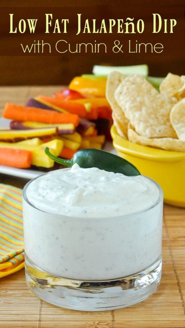 Low Fat Jalapeño Dip with Cumin and Lime image with text
