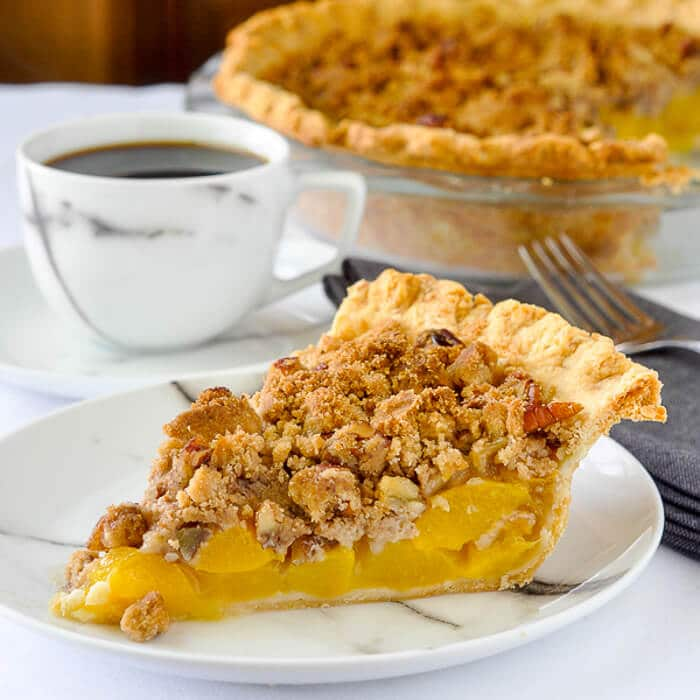 Pecan Peach Crumble Pie - 2 southern favourites in one pie!