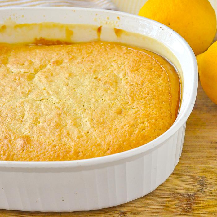Close up of uncut fully baked Lemon Pudding Cake