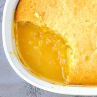 Close up overhead shot of Lemon Pudding Cake
